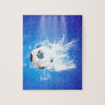 Flying soccer with water splashes jigsaw puzzles