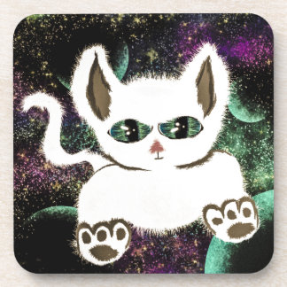 Flying Space Cat Beverage Coaster
