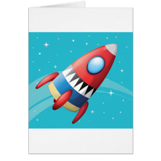 Flying Spaceship Greeting Cards
