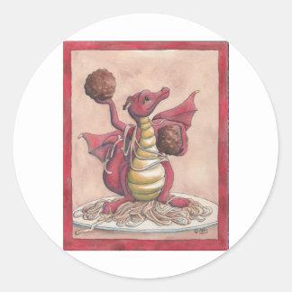 Flying Spaghetti Dragon Classic Round Sticker