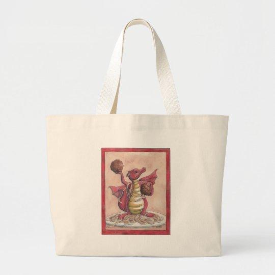 Flying Spaghetti Dragon Large Tote Bag