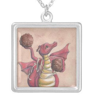 Flying Spaghetti Dragon Square Pendant Necklace