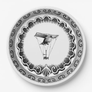 Flying Steampunk Air Ship Paper Plate