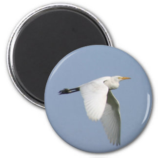 Flying storck in a blue sky 2 inch round magnet