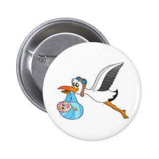 Flying stork delivering baby pin