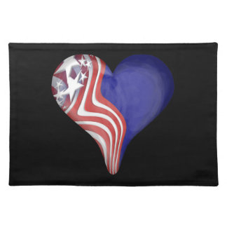 Flying Stripes Heart Cloth Placemat