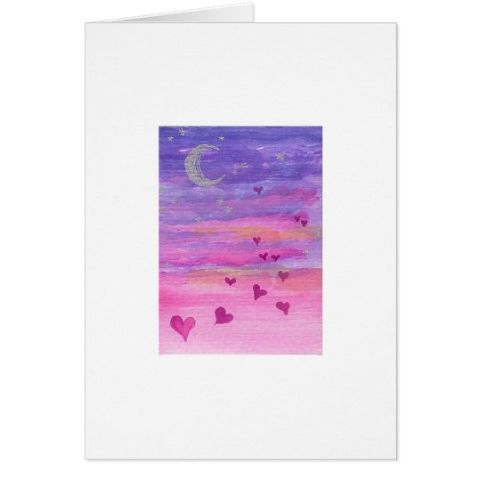 Flying Sunset Hearts Card