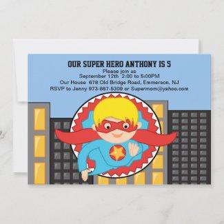 Flying Super Hero Boys Birthday Invitation