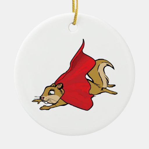 Flying Super Squirrel Double-Sided Ceramic Round Christmas Ornament