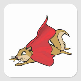 Flying Super Squirrel Square Sticker