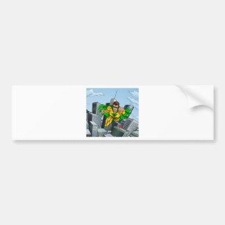 Flying Superhero City Scene Bumper Sticker