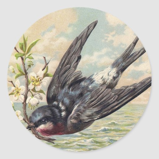 Flying swallow with flower twig
