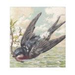 Flying swallow with flower twig schmierblock
