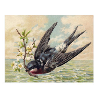 Flying swallow with flower twig postales