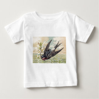 Flying swallow with more flower twig baby T-Shirt