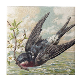 Flying swallow with more flower twig ceramic tile