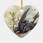 Flying swallow with more flower twig Double-Sided heart ceramic christmas ornament