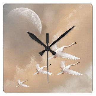 Flying Swans Wall Clock
