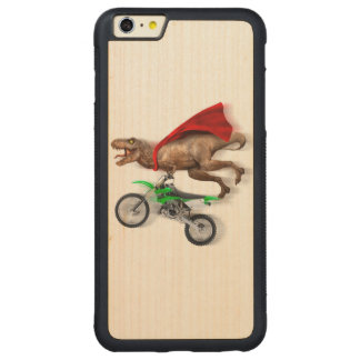 Flying t rex  - t rex motorcycle - t rex ride carved maple iPhone 6 plus bumper case