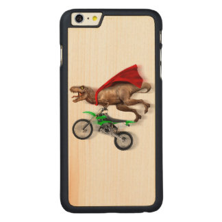 Flying t rex  - t rex motorcycle - t rex ride carved maple iPhone 6 plus slim case