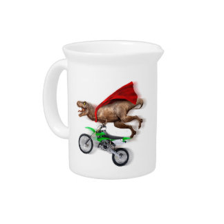 Flying t rex  - t rex motorcycle - t rex ride drink pitcher