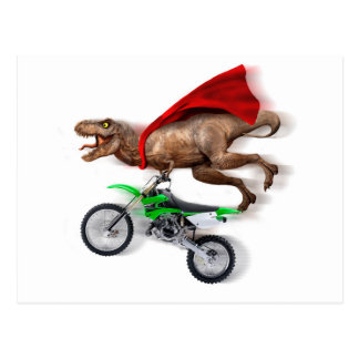 Flying t rex  - t rex motorcycle - t rex ride postcard