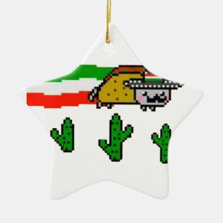 Flying Taco Cat Ceramic Ornament