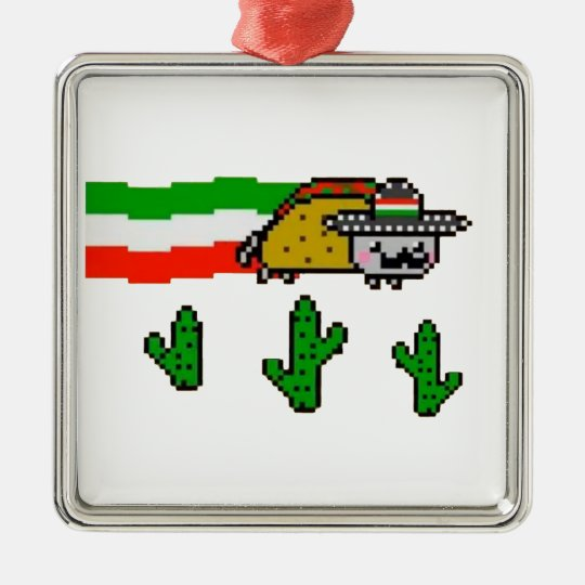 Flying Taco Cat Metal Ornament