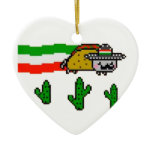 Flying Taco Cat Double-Sided Heart Ceramic Christmas Ornament