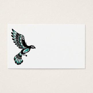 Flying Teal Blue and Black Haida Spirit Bird Business Card