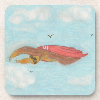 Flying Three Toed Sloth with red cape, Supersloth Drink Coaster
