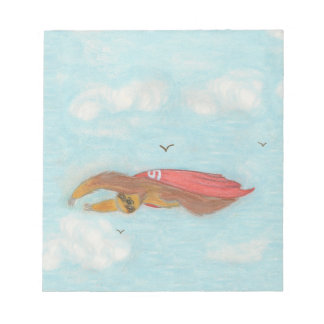 Flying Three Toed Sloth with red cape, Supersloth Notepad