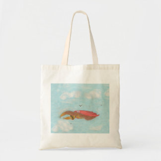 Flying Three Toed Sloth with red cape, Supersloth Tote Bag