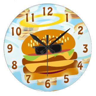 Flying thru Cheeseburger Heaven Large Clock