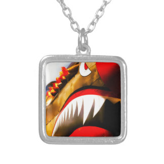 Flying tiger square pendant necklace