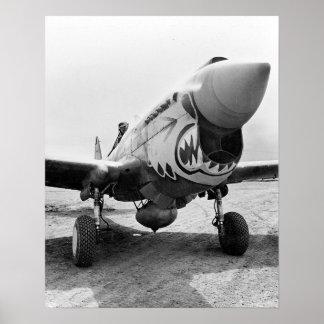 Flying Tigers P-40 Warhawk, 1941. Vintage Photo Poster