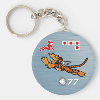Flying Tigers WWII Nose Art Basic Round Button Keychain