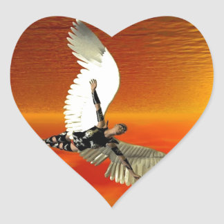 FLYING TO THE SUN HEART STICKER