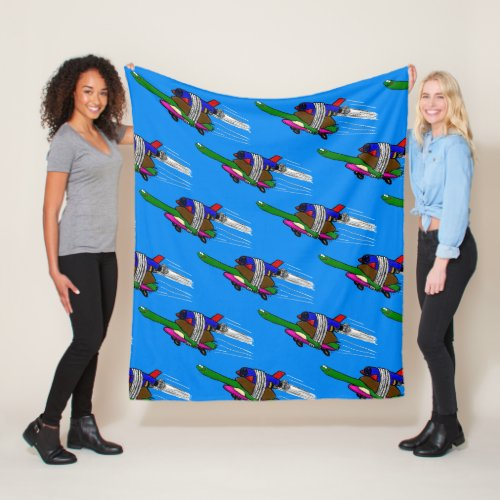 Flying tortoise fleece blanket