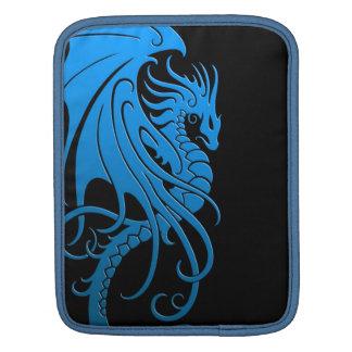 Flying Tribal Dragon - blue on black iPad Sleeve