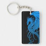 Flying Tribal Dragon - blue on black Keychain