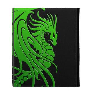Flying Tribal Dragon - green on black iPad Folio Case