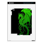 Flying Tribal Dragon - green on black iPad 3 Decal