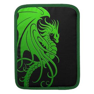 Flying Tribal Dragon - green on black iPad Sleeve