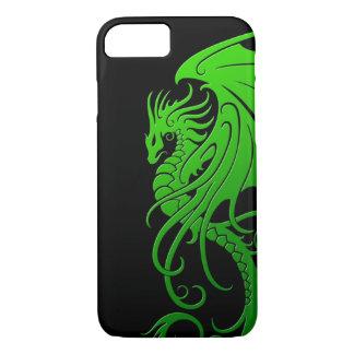 Flying Tribal Dragon - green on black iPhone 7 Case