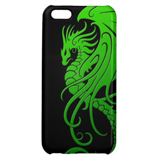 Flying Tribal Dragon - green on black iPhone 5C Covers