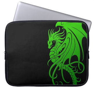 Flying Tribal Dragon - green on black Laptop Sleeve