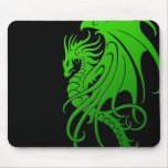 Flying Tribal Dragon - green on black Mouse Pad