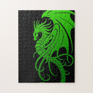 Flying Tribal Dragon - green on black Jigsaw Puzzle