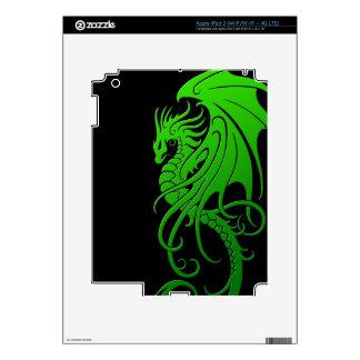 Flying Tribal Dragon - green on black Skin For iPad 3